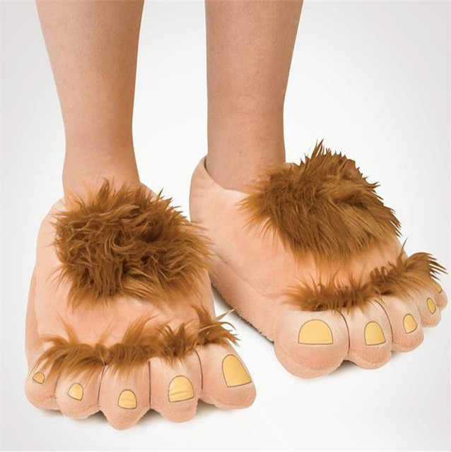 ff8934c393150 Savage hairy hobbit feet big feet Funny slippers creative cotton slippers  couple warm winter home shoes Halloween Christmas gift