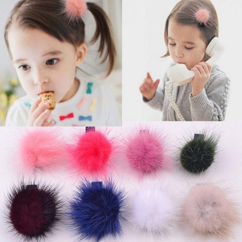 Детские милые аксессуары для волос, головные уборы, мини-норковые шарики, резиновые ободки для девочек, детская однотонная эластичная резинка для волос