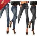 Borboleta Jeggings Sem Costura de Jeans Olhar Legging Mulheres Casuais Tendência de Moda de Nova Leggings Sólidos