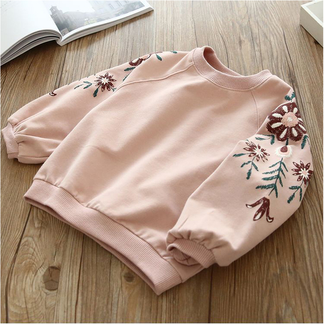 Girls' Cute Long Sleeved Floral Cotton T-Shirt