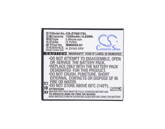 Cameron Sino High Quality 1250mAh Battery MM8005-01 for ZTE Quest, Quest N817, Uhura
