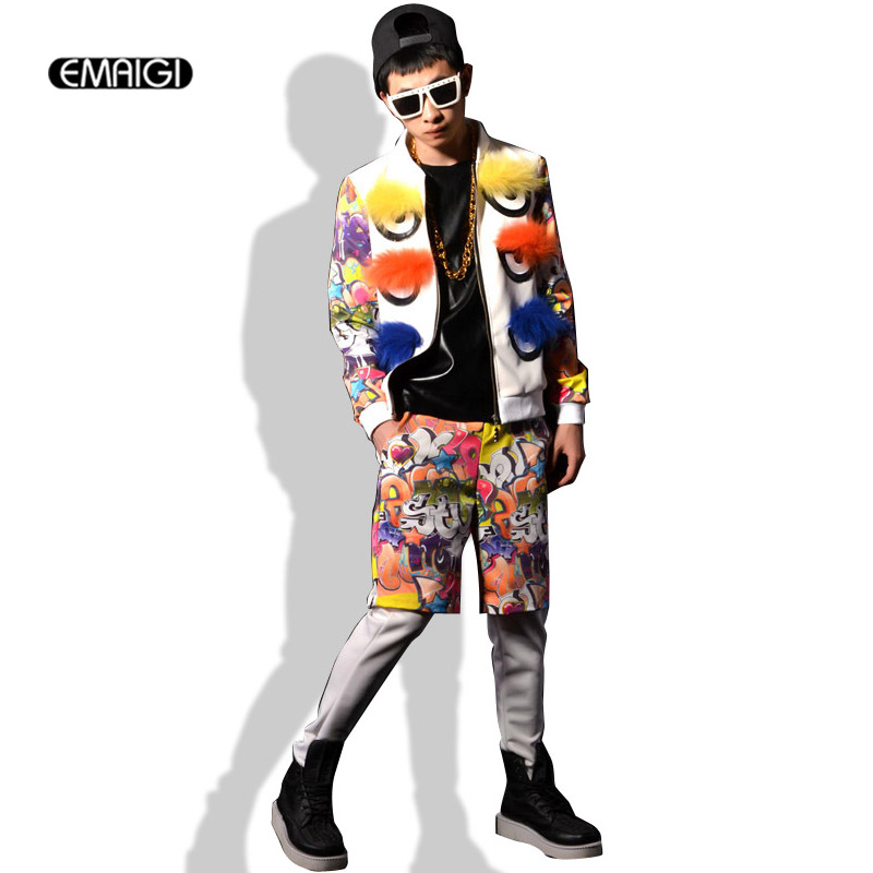 Custom Stage Show Costumes Men Fashion Casual Hip-hop Jacket Graffiti Big Eyes Splice Coat Nightclub Singer DJ Costumes