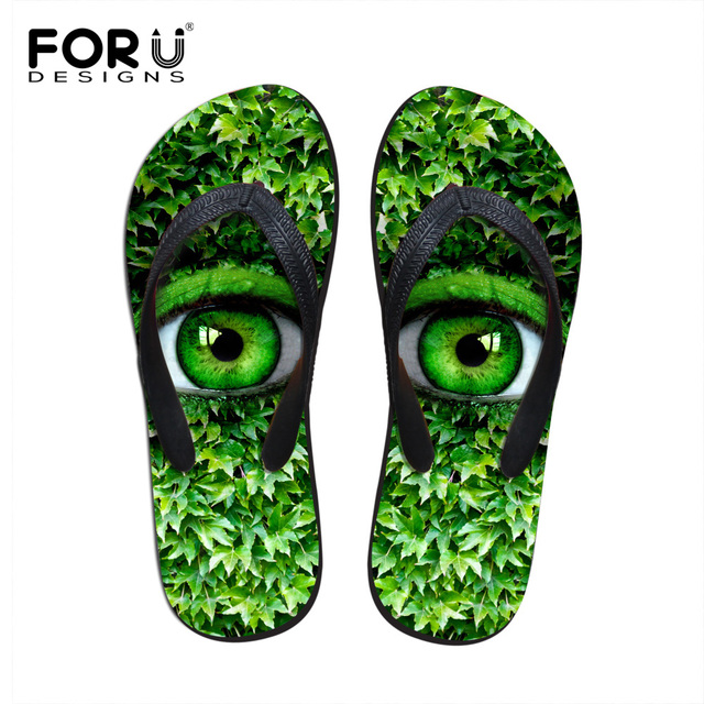 9478686c17993e FORUDESIGNS 3D Big Green Eyes Design Women s Summer Casual Sandals Fashion Rubber  House Slippers for Ladies Women Flats Shoe