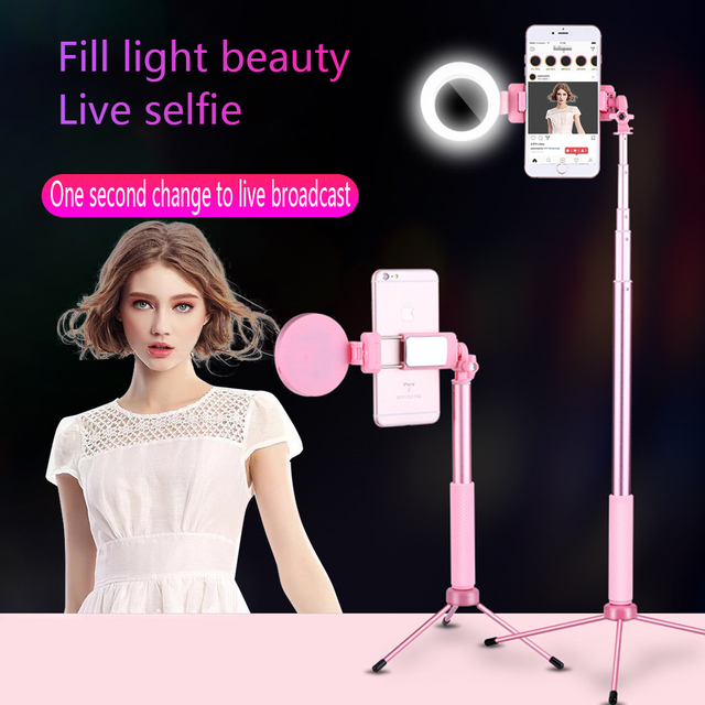 3 in 1 Selfie Stick Handheld Tripod with Fill Light Bluetooth Remote Extendable Monopod Universal for iPhone Sumsang Huawei