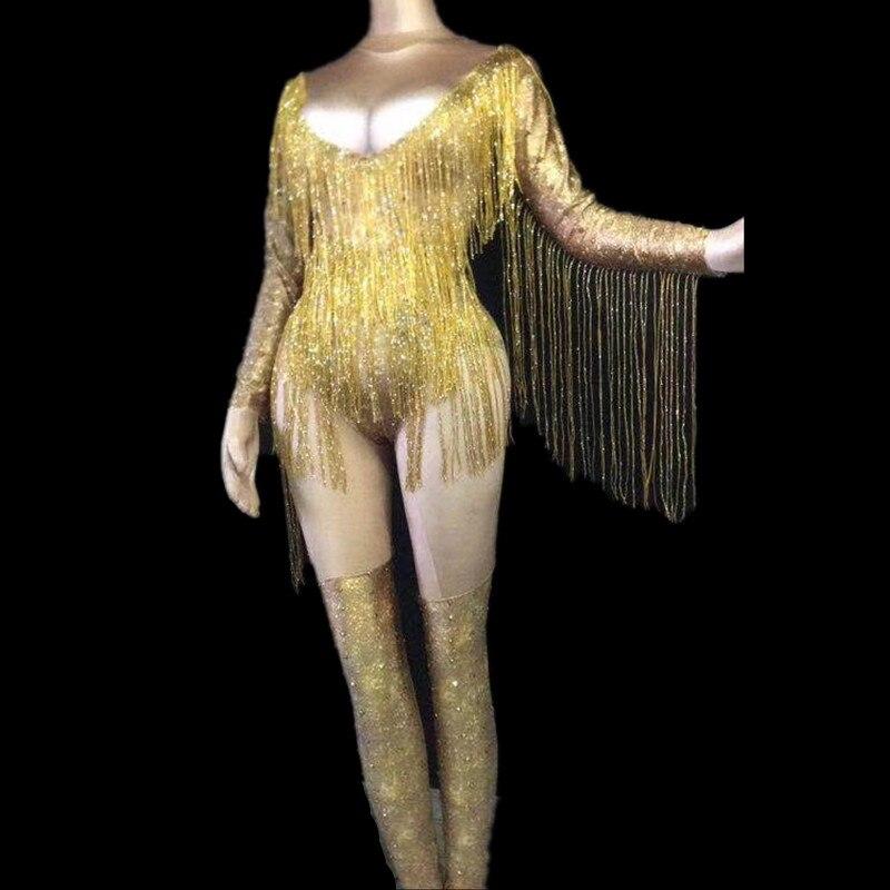 Women New Shiny Rhinestone Gold Bodysuit Sexy Long Tassel Outfit Nightclub Singer Costume Stage Dance DS Performance Bodysuit