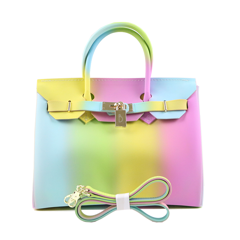 new fashion Rainbow handbag colorful jelly tote frosted women bag matte purse pvc candy top handle bag 30CM Top quality free shipping butterfly shopping bag lovely pvc waterproof ted bag colorful jelly handbag women handbag with original logo