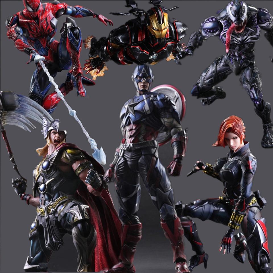 Super-héros Play Arts Kai Action Figure Spiderman Iron Man Vemon Thor Captain America Collection Modèle Jouet Anime Avenger Playarts