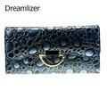 Dreamlizer 2016 New Fashion Shining Women Wallets Genuine Leather Purse Female StonePattern Female Day Clutch Zipper Bags
