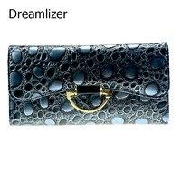 Dreamlizer 2016 Yeni Moda Shining Kadınlar Cüzdan Hakiki Deri Çanta Kadın StonePattern Kadın Gün Debriyaj Fermuar Çanta