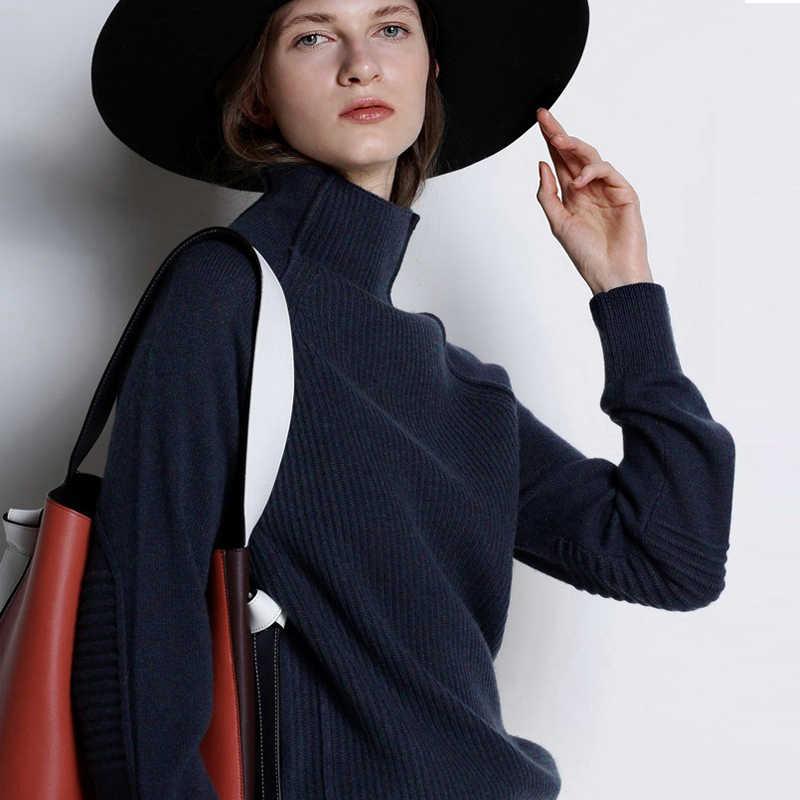 Musim Gugur Musim Dingin Kerah Tinggi Kasmir Sweater Wanita Sweater Rajut Tebal Longgar Malas Wol Sweater Kasual Wanita Pullover