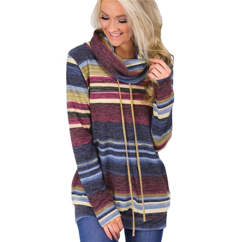 2018 Autumn Casual Loose Cotton Harajuku Hoodies Top Women Hoodies Sweatshirts Multicolor Striped Long Sleeve Hoodies Pullover