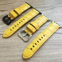 LUKENI 42mm Men Yellow Apple Watchbands Handmade Soft Genuine Leather Watch Strap For Iwatch Apple Watch
