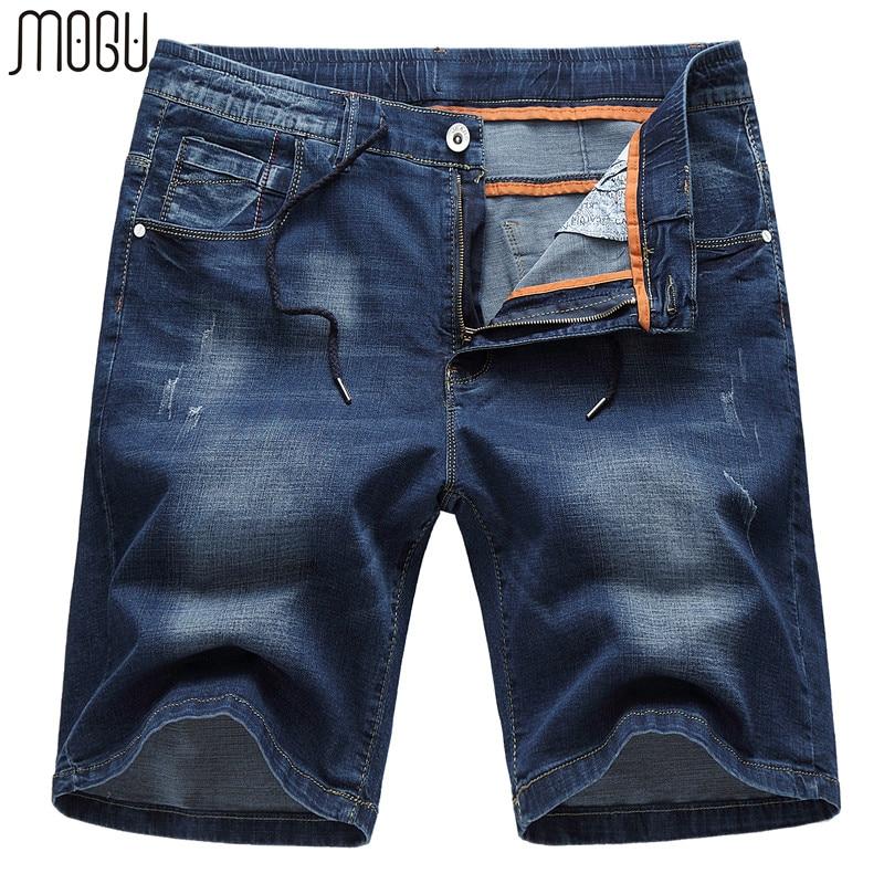 موجو غسلها الدينيم السراويل الرجال 2017 صيف جديد الموضة عارضة السراويل الرجال منتصف الخصر السراويل الجينز للرجال زائد حجم 6xl الرجال السراويل