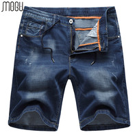 MOGU Washed Denim Shorts Men 2019 Summer New Fashion Casual Shorts Men Mid Waist Shorts Jeans For Men Plus Size 6XL Men's Shorts