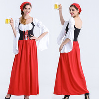PLUS Size LONG Red Oktoberfest Beer Maid Peasant Dress Costume German Wench Cosplay Party Fancy Dress