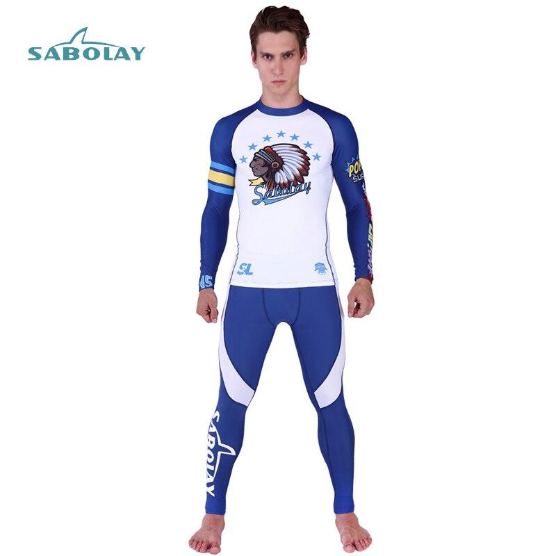 Men Rash Guard Indian Printd Long Sleeve Shirt Surf Pants Lycra Elasticity Rashguard Protection Beach Diving Swimsuit Wetsuit