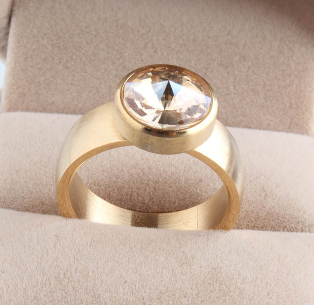 gold color Color Wide 7mm Handmade Women Finger Wedding Jewelry Ring Stainless S