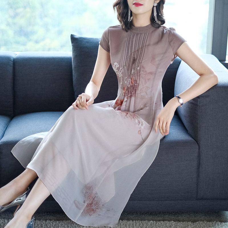 L-3XL Summer Plus Size Women Dress 2019 Silk Print Dress Casual Long Cheongsam Chinese Style Elegant Large Size Party Vestidos