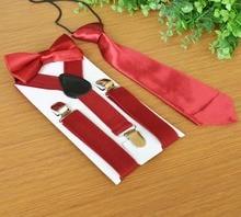 300sets/lot 3pcs/set School Boys Children Kid adjustable elastic Y back Suspender Bowtie Tie/candy Color Handmade Neck Tie Set