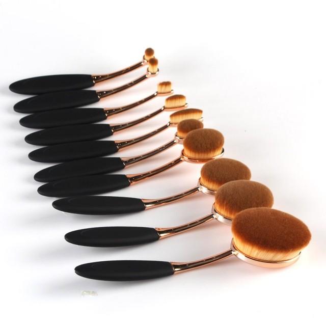 10 PCS Por Definir Escova de Dente Forma Oval Conjunto de Pincel de Maquiagem Pincéis de Maquiagem Profissional Fundação Escova do Pó Kits
