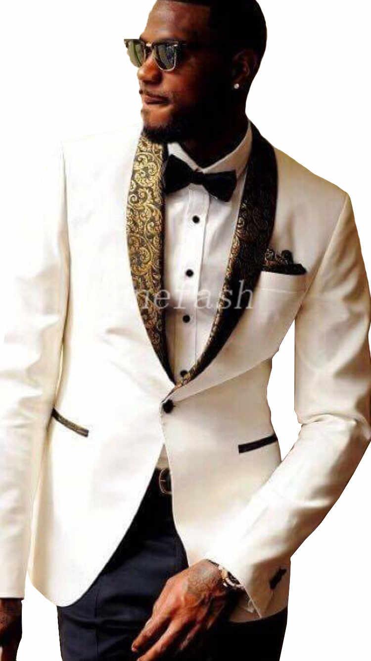 2017新しい男性白いスーツカスタムメイドスリムフィット新郎タキシード花婿ビジネスドレスウェディング