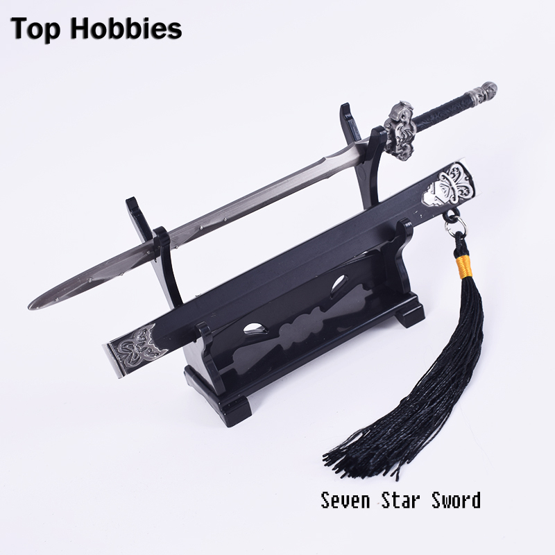 1 6 scale ancient weapon sword model with stand collection toy for 12 inches action figure Seven Star Sword 1/6 Scale Ancient soldier metal Alloy cold weapon annex model swords blade is not open about 17cm length