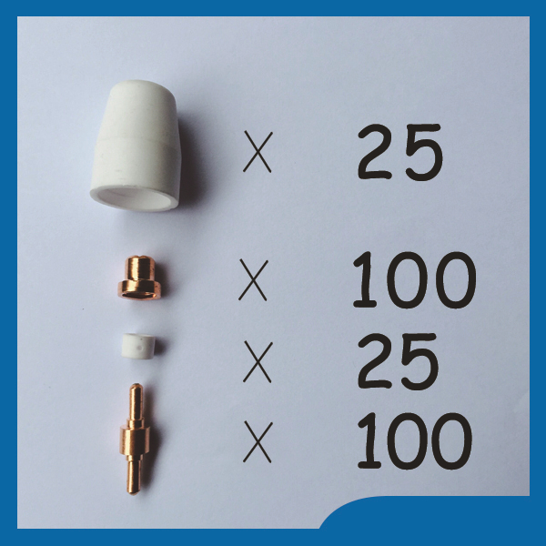 250pcs PT31 LG40 30/40A Air Plasma Cutter Cutting Consumables KIT Fit CT312 CUT40 CUT30 CUT50 free shipping недорого