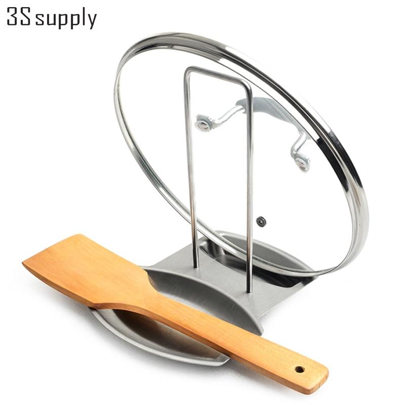 Multifuncional de Almacenamiento En Rack Titular de Tapa de La Olla de  Acero inoxidable Cuchara Tenedor Cubiertos Drenaje Funció. d68879448154