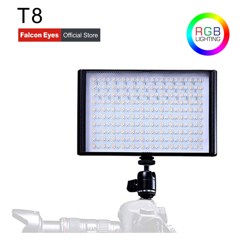Falcon Eyes RGB Colorful LED Video/Photo Fill Light 30W Bi Color For Canon Nikon DSLR Camera DV and Camcorder With Batteries T8|Photographic Lighting| |  - title=
