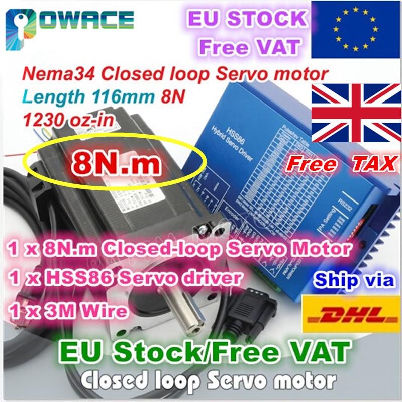 EU US Delivery Free VAT Nema34 8N m 116mm Closed Loop Servo Motor 6A 2HSS86H