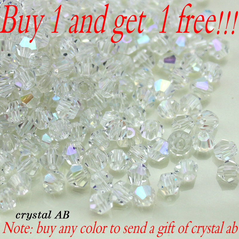 Buy 1 and get 1 free 100pcs Colorful 4mm Bicone Crystal Beads Glass Beads Loose Spacer Beads bracelet Jewelry Making Accessories