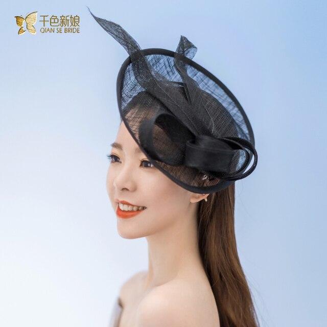 Свадебные Шляпы Для Женщин Винтаж Чистая Свадебные Шляпы Черный Свадебные Головные Уборы Невесты Чародей Sinamay Свадебные Клетка Veil