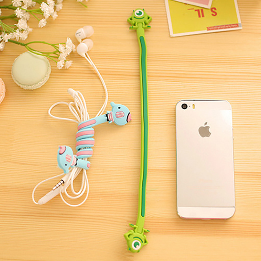 Funelego Cartoon Lovely Style D7 Earphone Wire Organizer Cord Protector For MP3 USB Data Rubber Cable Winder Management