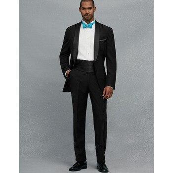 High Quality One Button Groom Wedding men Suits Tuxedo Black Shawl Lapel Groomsmen smoking Custom Made Mens Suit (Jacket+Pants)