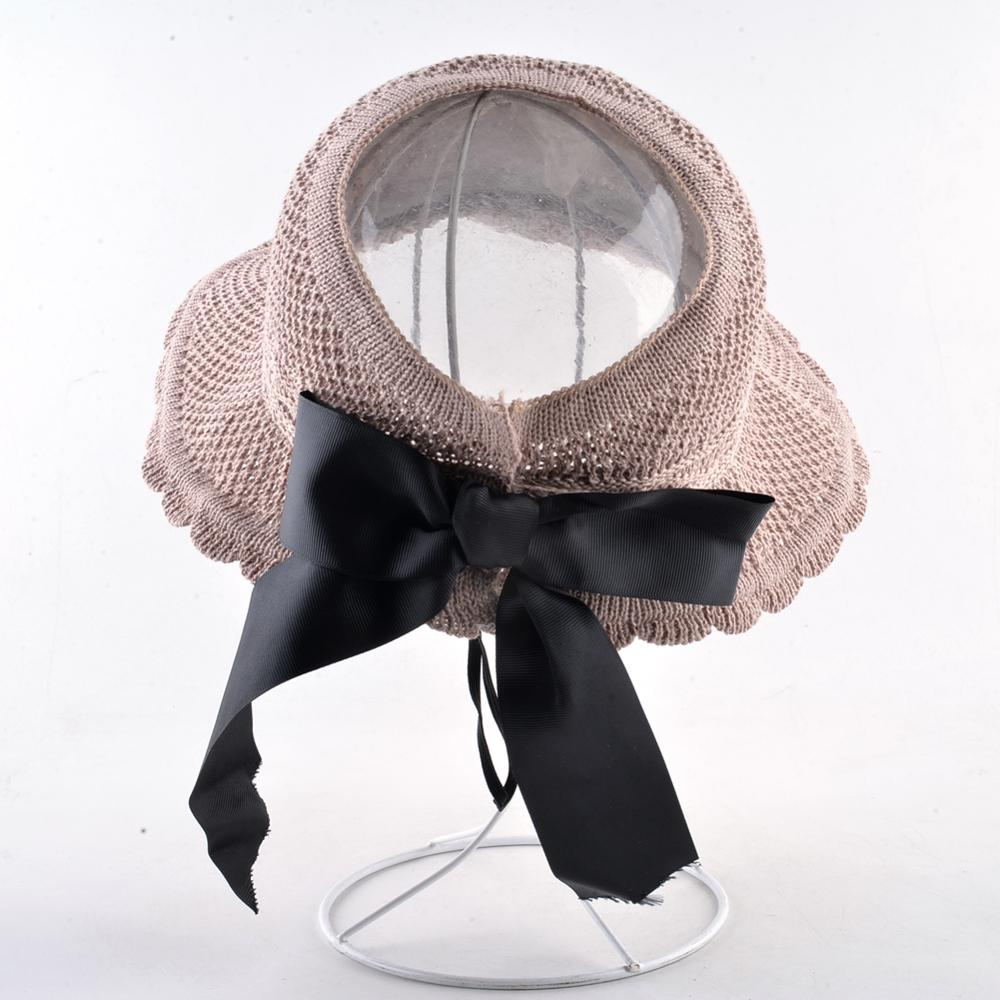 Women's Ponytail Cap Solid Color Sun Hats For Ladies Wide Brim Beach Vacation Straw Hat Foldable Bow-knot Casual Floppy Cap 2