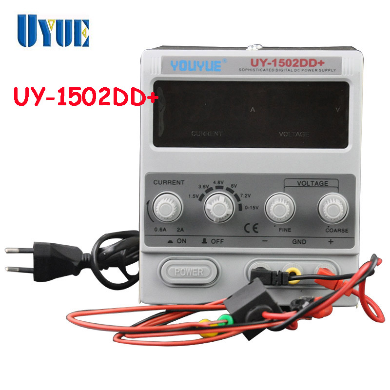 ФОТО UYUE 15V 2A Adjustable DC Power Supply Mobile phone repair power test regulated power supply UY-1502DD+