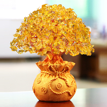 LUCKY Fortune Wealth Chinese Golden Crystal Lucky Money Fortune Tree Home Office Decoration Best Gifts Tabletop Ornament Crafts 1