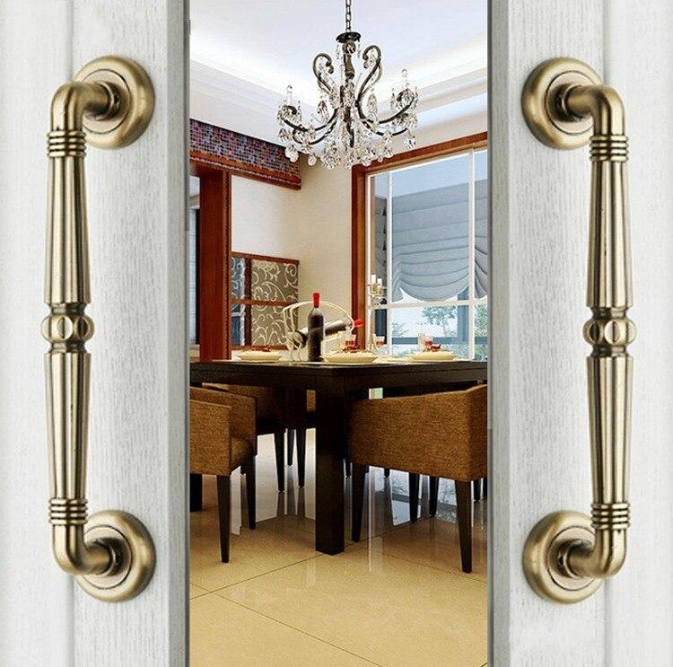 Antique european zinc alloy bronze villa archaize wooden for Hotel door decor