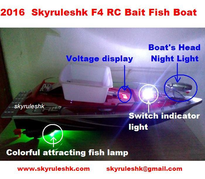 2016 Hot Newest  RC Remote Control bait Fishing Boat Attracting Fish Lamp 6 hours Towing hook controle remoto ship skyrules F4 bobing remote control nest ship bait boat fishing gear automatical hit device fish inducer fishing tackle tool accessories