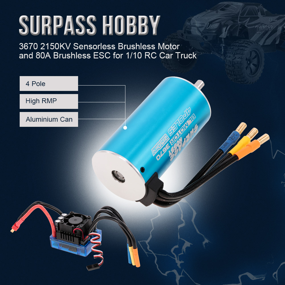 3670 2150KV Sensorless RC Car Brushless Motor and 80A Brushless ESC for 1:10 1:8 RC Car RC Truck Parts 1 10 80a adjustable sensored sensorless brushless esc for car truck