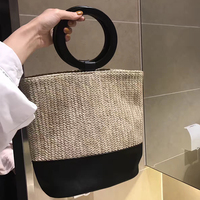 Summer Tote 2017 Round Wooden Handle Women S Handbags Large Straw Beach Bag Clutch Patchwork Leather