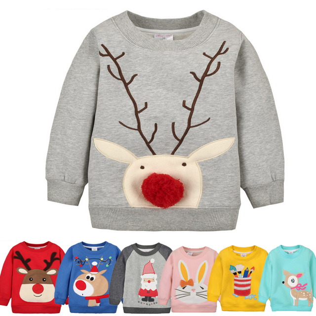 Y42 Nuevo, además de terciopelo invierno suéter de los niños de dibujos animados ciervos niño y niña bebé embroma la ropa de moda sudadera de Color opcional