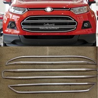 For Ford Ecosport Front Grill cover Big Grille Trim Garnish Bumper Protector 2013 to 2015 ABS Chrome Car styling Accessories