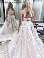 Tulle Halter Ball Gown Prom Dresses Bead Lace Appliques 2 Piece Prom Dress Sweep Train Vestido de gala Women's Formal Dress