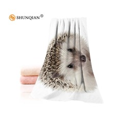 New Custom Animals Hedgehog Towel Printed Cotton Face/Bath Towels Microfiber Fabric For Kids Men Women Shower Towels A7.24