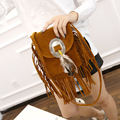 New Chinese National Women's mini Messenger Bags Femal Tassel matte leather Handbag with Feather Small Phone Bags