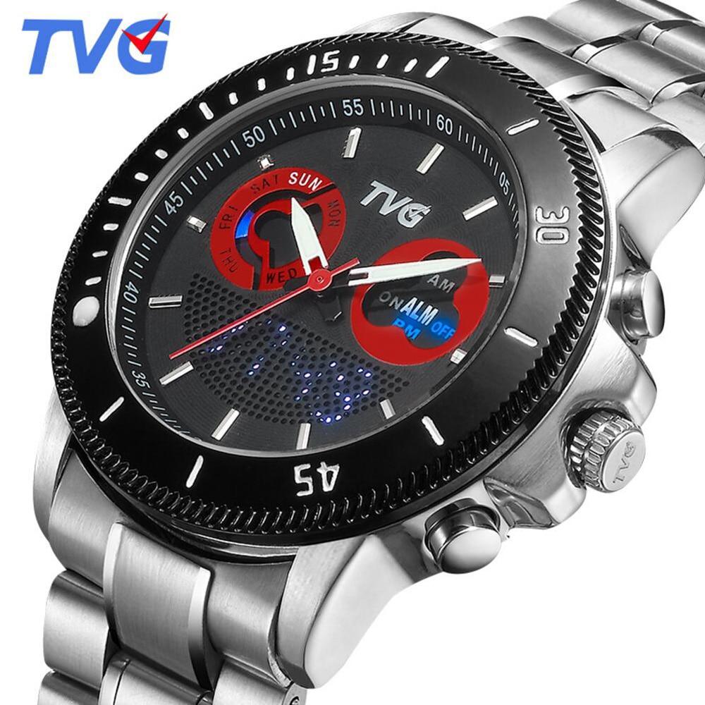 TVG 2017 Luxury Brand Men Sports Watches Fashion Quartz Clock Full Steel Analog Digital Dual Time Watches Men relogio masculino brand tvg men watch fashion led digital