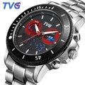 TVG 2017 Luxury Brand Men Sports Watches Fashion Quartz Clock Full Steel Analog Digital Dual Time Watches Men relogio masculino
