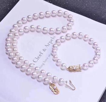 elegant 8.5-9mm JAPANESE Akoya round white pearl necklace 18inch &bracelet7.5-8 perlas reales blancas white lovers love spider