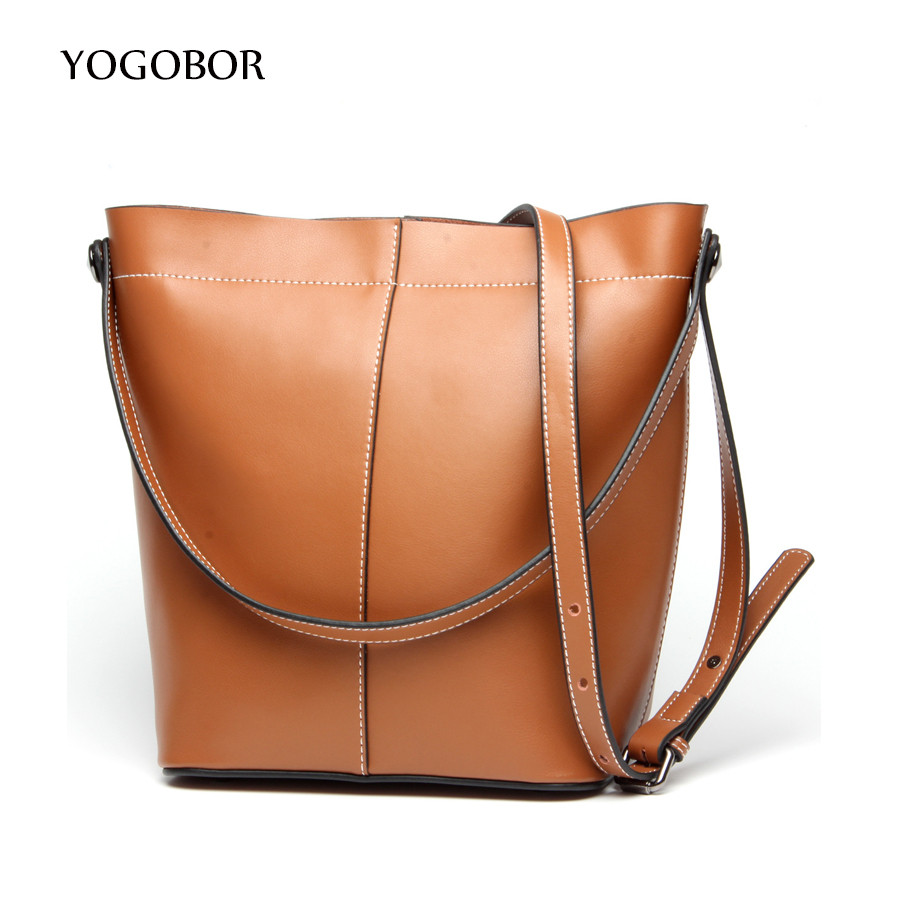 ФОТО YOGOBOR 2017 High Quality Leather Women Bag Bucket Shoulder Bags Solid Big Handbag Large Capacity Top-handle Bags New Arrivals